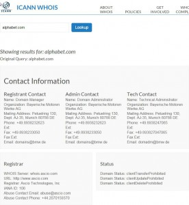 ICANN WHOIS LOOKUP For Alphabet